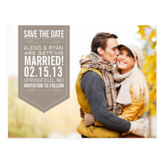 Brown Save The Date Postcards