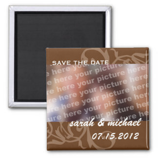 Brown save the date wedding announcement photo fridge magnets
