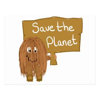 Brown Save the Planet Postcard