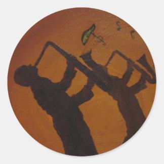 Brown Saxiphone Art Jazz Classic Round Sticker