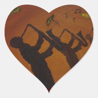 Brown Saxiphone Art Jazz Heart Sticker