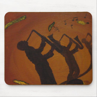 Brown Saxiphone Art Jazz Mouse Pad