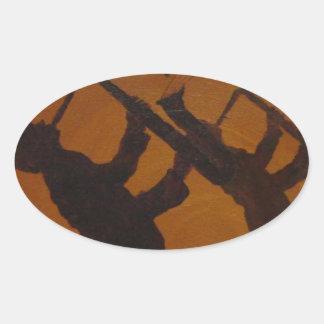 Brown Saxiphone Art Jazz Oval Sticker