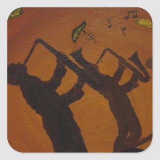 Brown Saxiphone Art Jazz Square Sticker