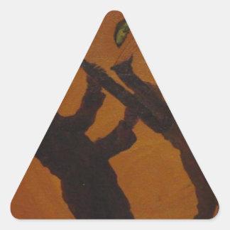 Brown Saxiphone Art Jazz Triangle Sticker
