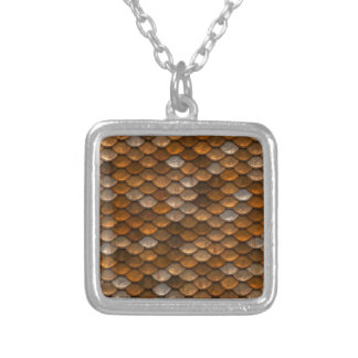 Brown scales pattern silver plated necklace