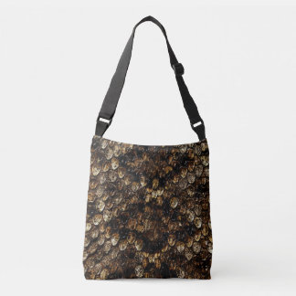 Brown Scaly Snake Skin Pattern, Crossbody Bag