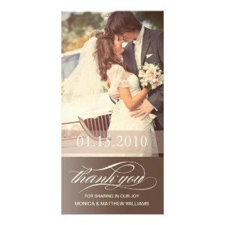 BROWN SCRIPT THANKS   WEDDING THANK YOU CARD PHOTO CARD