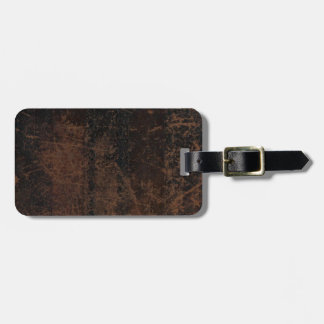 Brown Scuffed Leather Look Luggage Tag