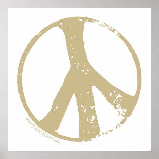 Brown se descoloró signo de la paz del estilo del impresiones