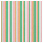 [ Thumbnail: Brown, Sea Green, White & Light Pink Stripes Fabric ]