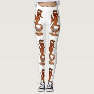 Beach Themed brown sea horses white leggings