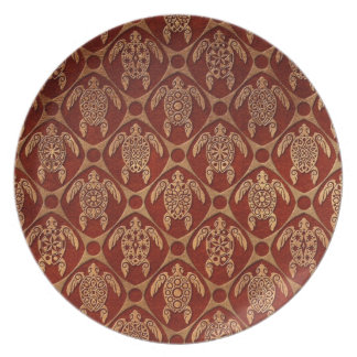 Brown Sea Turtles Shell Pattern Party Plates