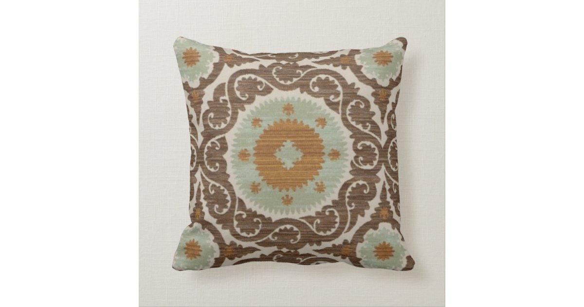 Seafoam Blue Decorative Pillows : brown,Seafoam,Blue,Morrocan Designed Throw Pillow Zazzle