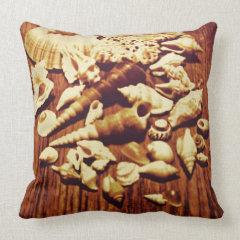 Brown Seashells Throw Pillow