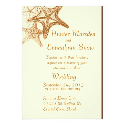 brown seastar beach wedding invitation