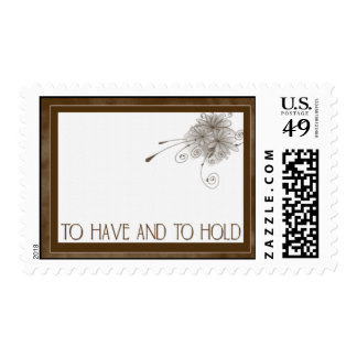 Brown sepia toned wedding stamps