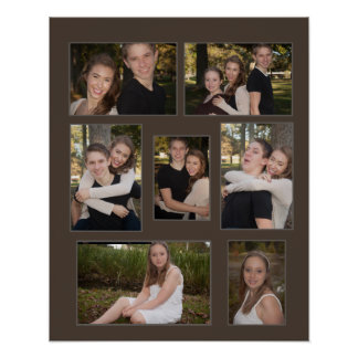 Brown Seven Photo Collage Poster