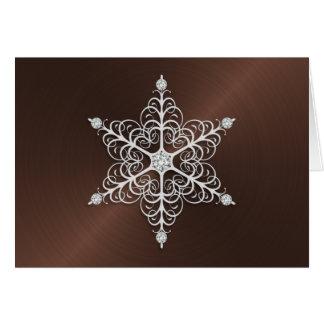Brown Sheen Snowflake Greeting Card