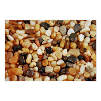 Brown shiny beach pebbles poster