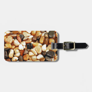Brown shiny beach pebbles print travel bag tags