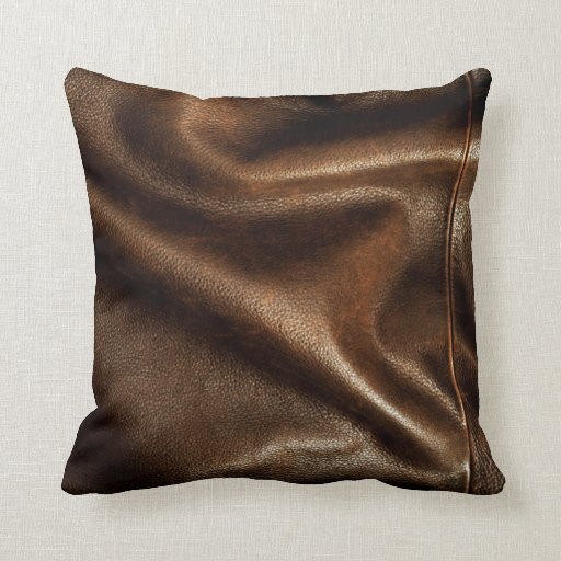 Brown shiny faux leather pillow zazzle for Define faux leather