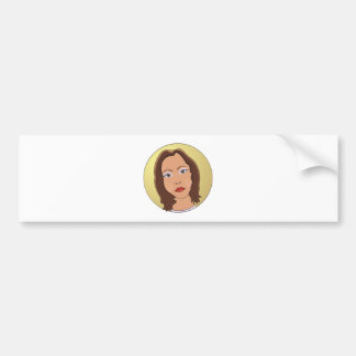 Brown Short Hair Woman Bumper Sticker