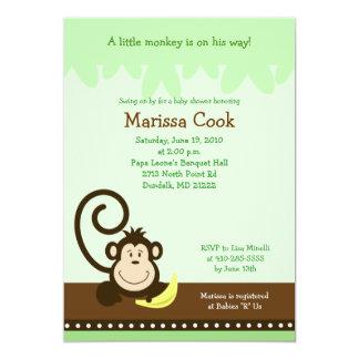 Brown Silly Monkey Jungle Boy Baby Shower 5x7 Card