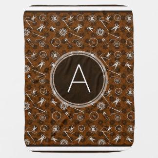 Brown Silver Sewing Pattern with Monogram Stroller Blanket