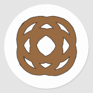 Brown Simple Circle Knot Classic Round Sticker