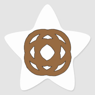 Brown Simple Circle Knot Star Sticker