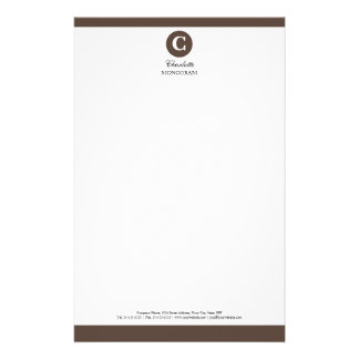 Brown simple y monograma blanco personalized stationery
