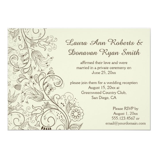 Brown Sketched Swirls Flowers on Ivory Wedding Invitation