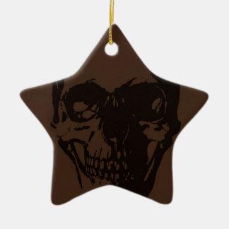 Brown Skull Ceramic Ornament