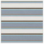 [ Thumbnail: Brown, Sky Blue, Light Slate Gray, White & Black Fabric ]