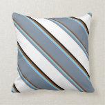 [ Thumbnail: Brown, Sky Blue, Light Slate Gray, White & Black Throw Pillow ]