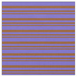 [ Thumbnail: Brown & Slate Blue Colored Striped/Lined Pattern Fabric ]