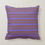 [ Thumbnail: Brown & Slate Blue Colored Striped/Lined Pattern Throw Pillow ]
