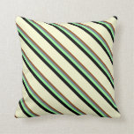 [ Thumbnail: Brown, Slate Gray, Green, Black & Light Yellow Throw Pillow ]