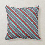 [ Thumbnail: Brown, Slate Gray, Light Grey & Aqua Colored Throw Pillow ]
