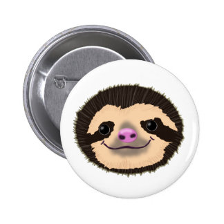 brown smiling sloth face pinback button