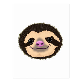 brown smiling sloth face postcard