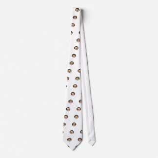 brown smiling sloth face tie