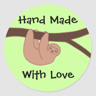 Brown Smiling Sloth with Heart Nose Hand Made Text Classic Round Sticker