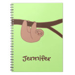 Brown Smiling Sloth with Heart Nose Notebook