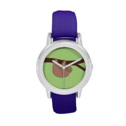 Brown Smiling Sloth with Heart Nose Wristwatch
