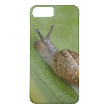 USA Themed Brown snail on dew covered leaf iPhone 7 plus case