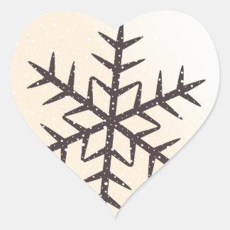 Brown snowflake and snow cream ivory white winter heart sticker