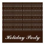 Brown Snowflake Design 5.25x5.25 Square Paper Invitation Card