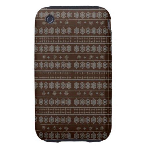 Brown snowflake pattern iPhone 3 tough case